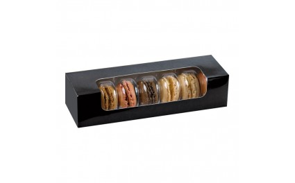 Boite noire avec fenêtre pour insert 7 macarons