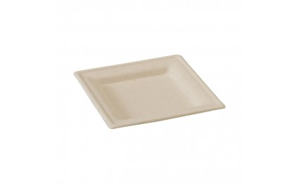 Assiette pulpe brune carrée 16 cm