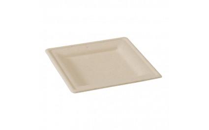 Assiette pulpe brune carrée 20 cm