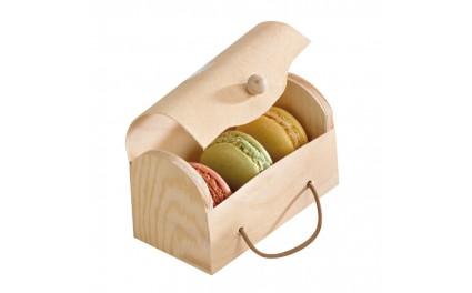 Boite mini buche en bois pour 3 macarons