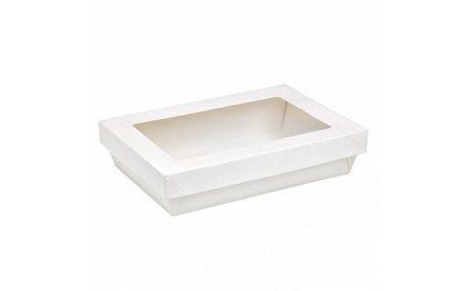 Boite alimentaire blanche emballage jetable fen tre for Fenetre rectangle