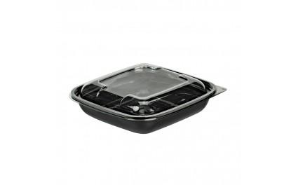 Saladier + couv carré noir 750 ml
