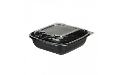Saladier carré noir 1000 ml avec couvercle
