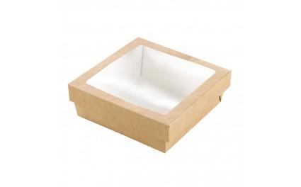 Boîte carton brun à fenêtre PLA 140x140x50mm