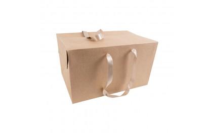 Sac boîte carton kraft poignées tissu x 25 unités