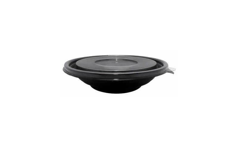 Saladier rond noir 750 ml saladier jetable en plastique - Saladier plastique avec couvercle ...
